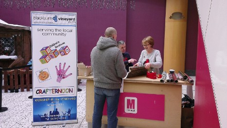 Free gift qwrapping in town centre at Christmas